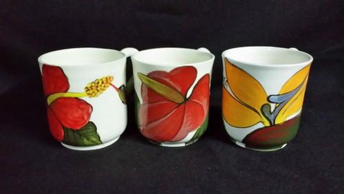 Frazer's Ceramics Coffee Cup FLower- White (per cup)
