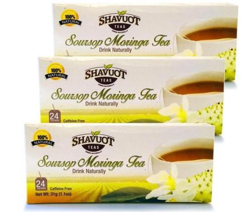 Shavuot Soursop Moringa Tea (24 Tea bags) pack of 3