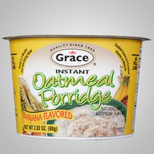 Grace Instant Oatmeal Porridge (Banana) captures all the flavor and goodness of authentic Caribbean porridge. Just add water.