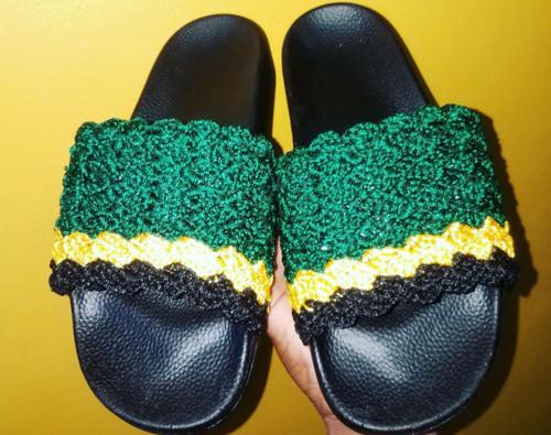 Jamaican Colour Crochet Slides