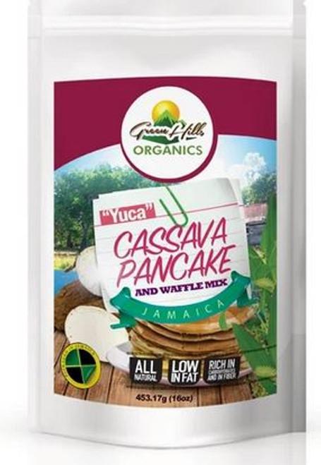 Green Hills Organics Jamaican Cassava Pancake and Waffle mix-High in Fiber (16oz)
