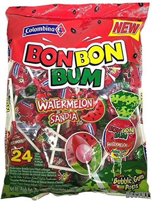 Water Melon Bon Bon Lollipop  (Pack of 24)