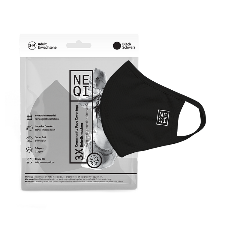 NEQI Face Coverings - Black Small/Medium (3pk)