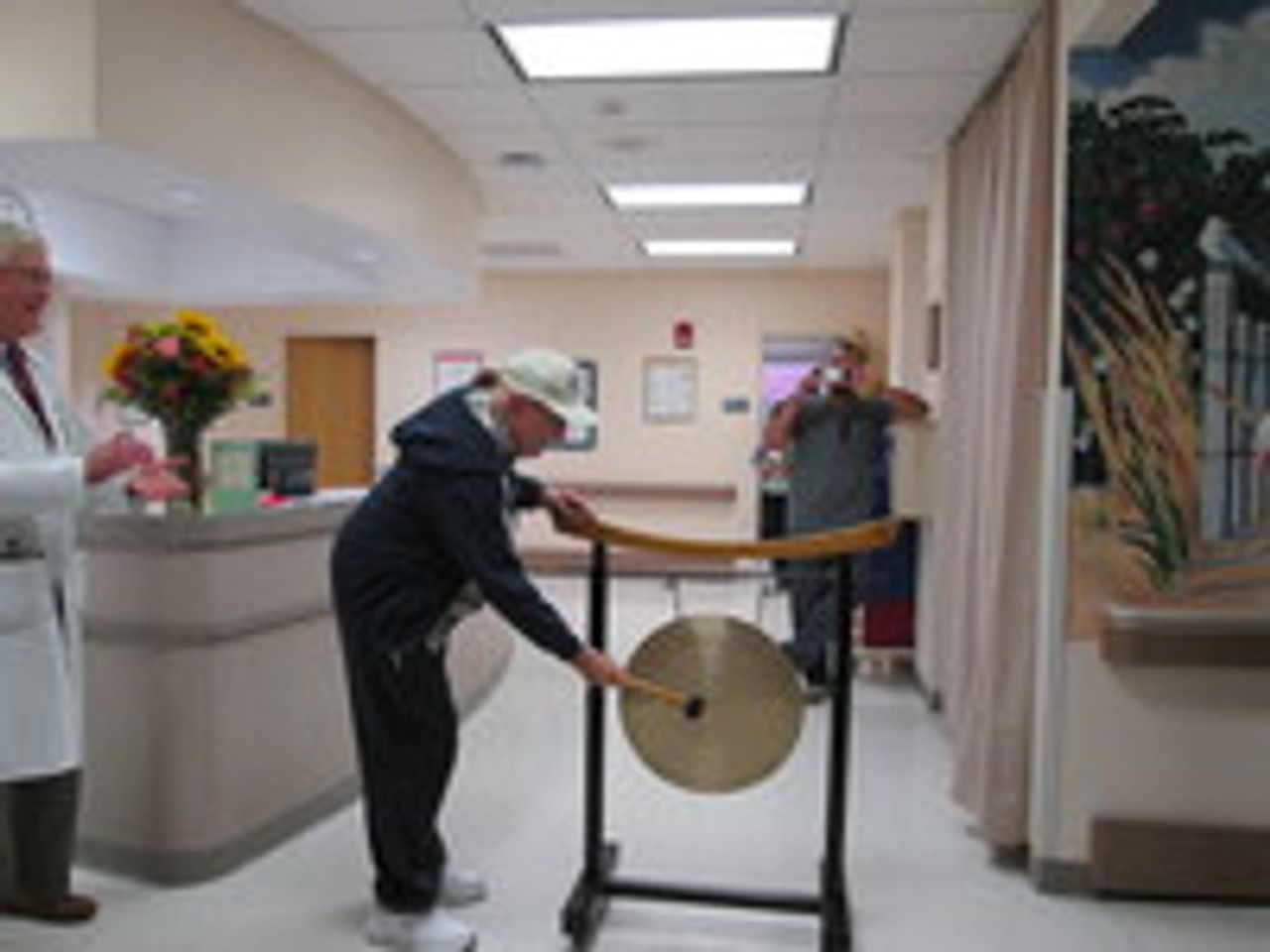 Rich Bangs a Gong at Completion of Radiation Therapy - Long Island Jewish Hospital New York
