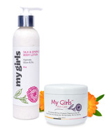 My Girls Skin Care 6.8 Oz Radiation Burn Care Silk & 8 Oz Sparkle Body Lotion
