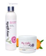 My Girls Skin Care 6.8 Oz Radiation Burn Care Silk & 8 Oz Sparkle Body Lotion