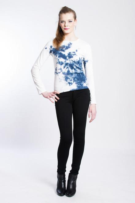 WAVE HOPE T-SHIRT: White+Indigo  Organic Cotton