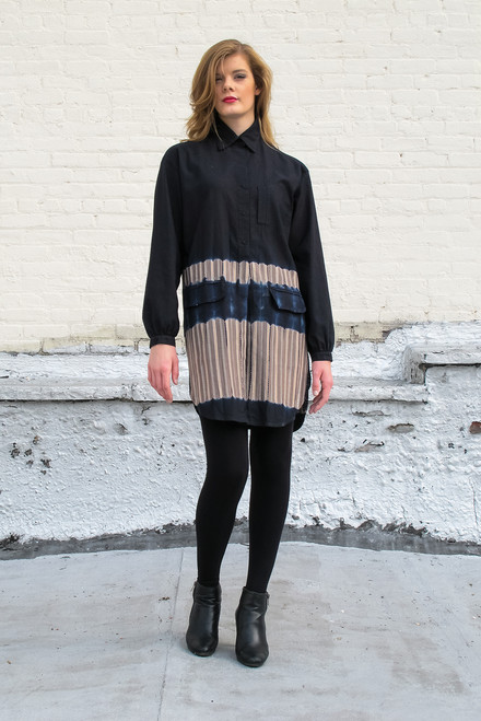 EDITH SHIRTDRESS: Shibori Border