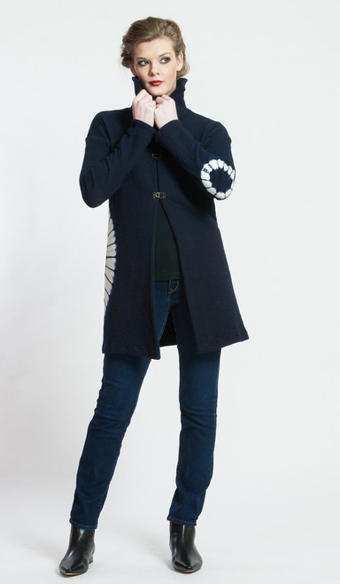 EIKO JACKET: Cotton Knit Matelasse with Shibori Circles