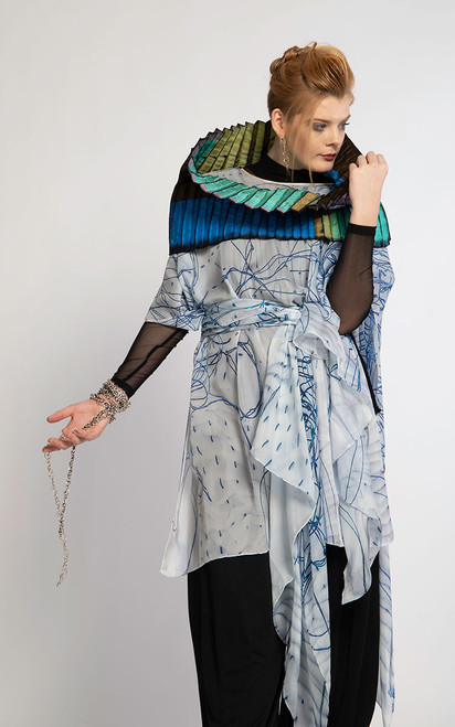 WHISPERING TEXTILES LONG PONCHO: Blue Threads
