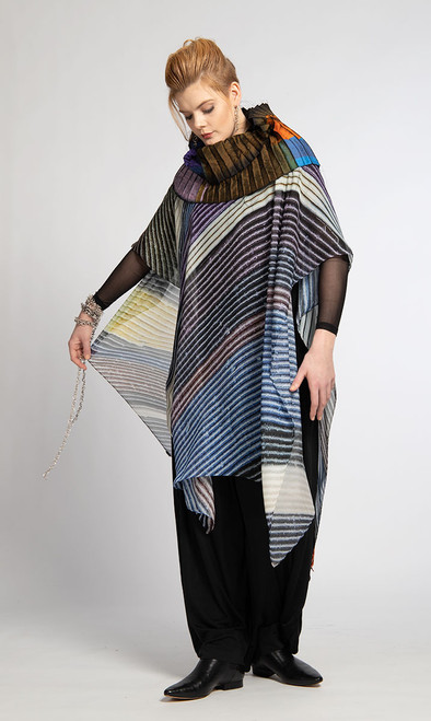 WHISPERING TEXTILES LONG PONCHO: Stripes of Compassion