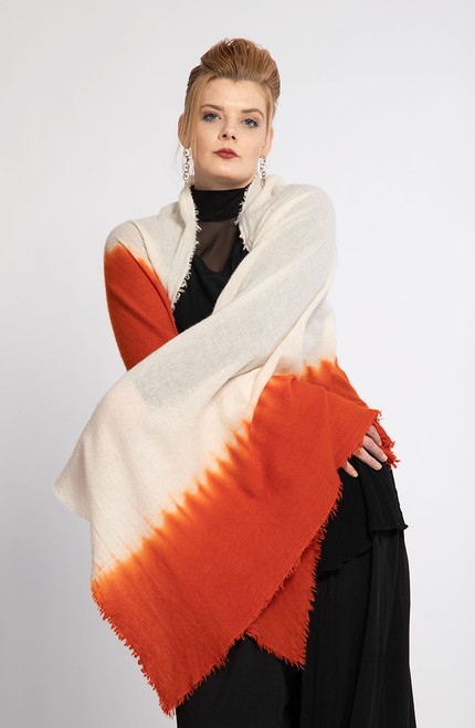 1.   CASHMERE SHAWL: Kyoto Mist - Natural+Orange