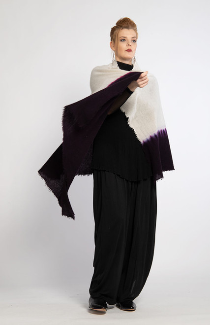 4. CASHMERE SHAWL: Kyoto Mist - Natural+Purple