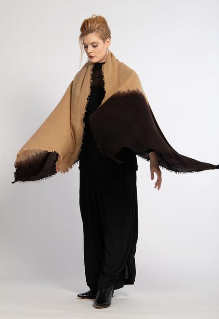 7. CASHMERE SHAWL: Kyoto Mist - Camel+Deep Brown