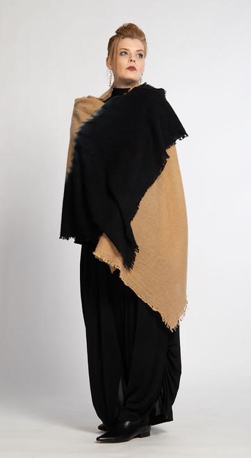 6. CASHMERE SHAWL: Kyoto Mist - Camel+Indigo