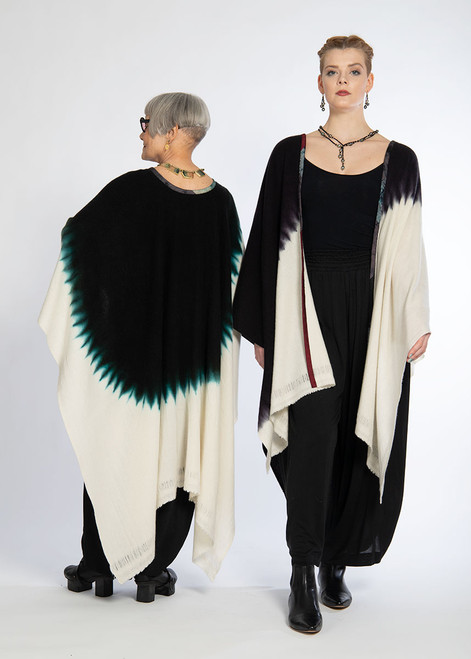 CASHMERE CAPE: KYOTO MIST - Natural+Burnt Aubergine