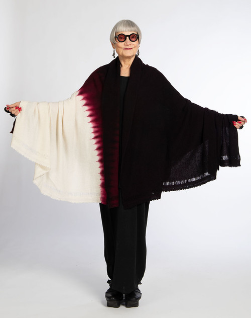 CASHMERE THROW: Kyoto Mist Circles - Natural+Burgundy+Black