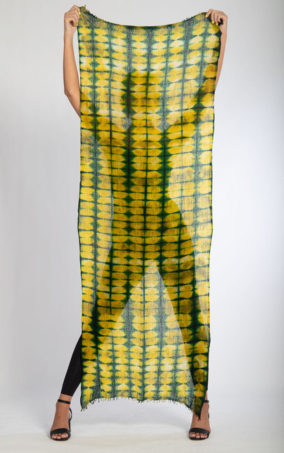CASHMERE SHAWL: FEATHERWEIGHT -  Plaid Green Illusions
