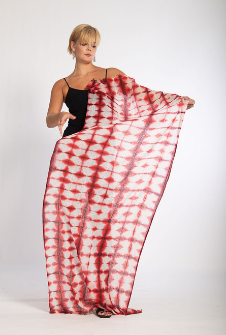 CASHMERE SHAWL: FEATHERWEIGHT - Plaid Red Illusions   SOLD OUT- NO LONGER AVAILABLE
