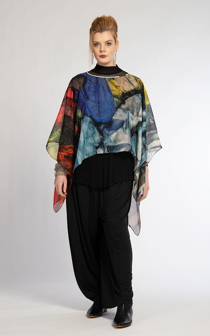 WHISPERING TEXTILES SHORT PONCHO: Layers of Courage