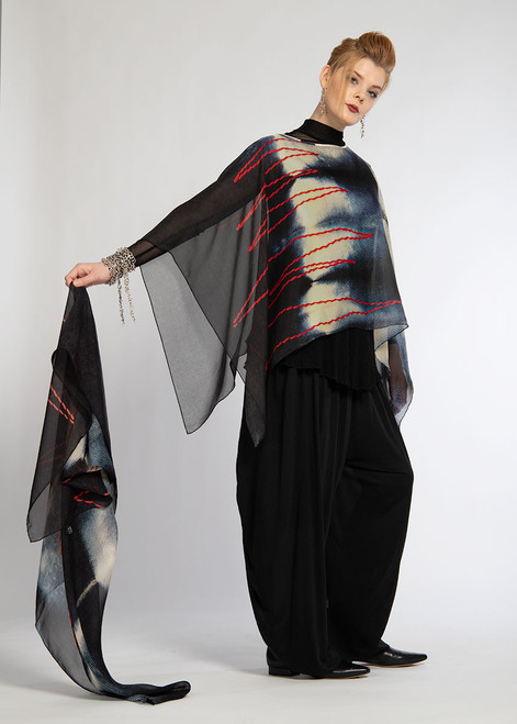 WHISPERING TEXTILES SHORT PONCHO: Red Love Thread ZigZag