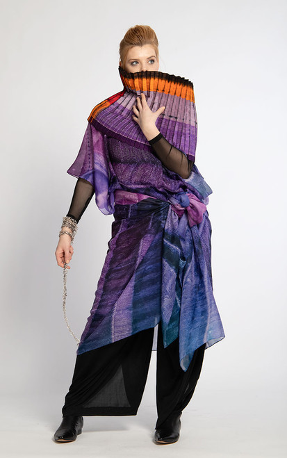 WHISPERING TEXTILES LONG PONCHO: Pleated Purple Passion