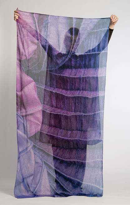 WHISPERING TEXTILES SCARF: Pleated Purple Passion