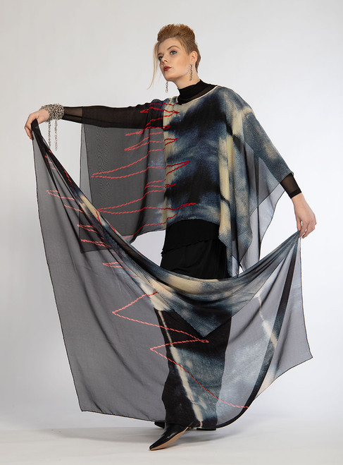 RED THREADS ZIGZAG SCARF with the RED THREADS ZIGZAG SHORT PONCHO (sold separately).