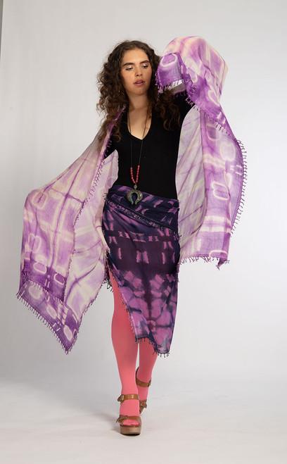KHADI SQUARES: Cloverleaf Lavender Shawl