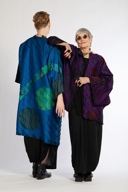 ACCORDION DUSTER: Royal Purple Moon and Dots #21 (right)