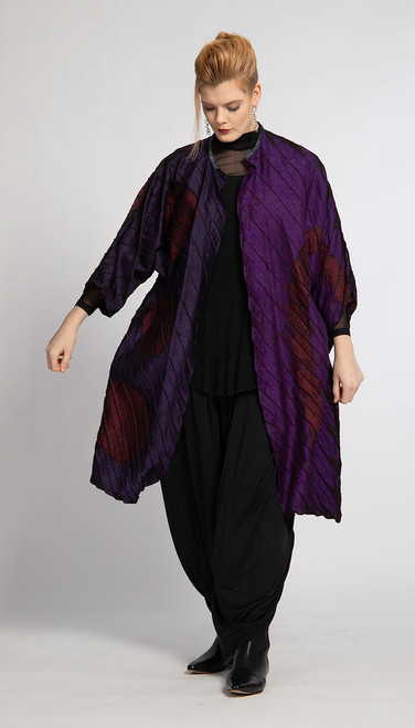 ACCORDION DUSTER: Royal Purple 3-Dots #22