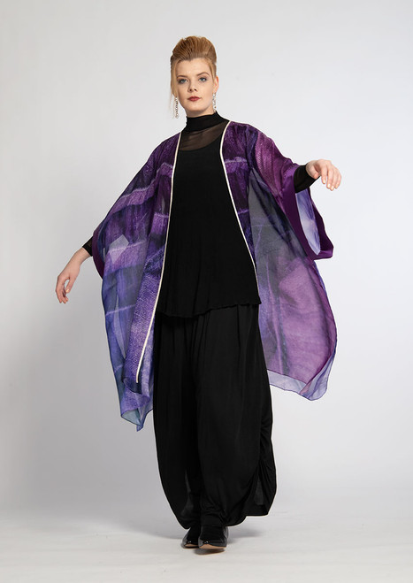 WHISPERING TEXTILES KIMONO: Purple Pleated Passion