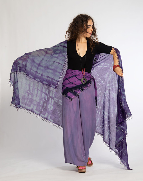 KHADI SQUARES: Geometric Purple