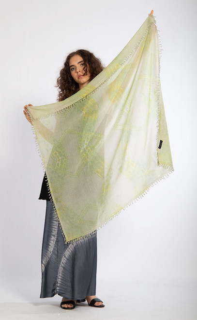KHADI SQUARES: Soft Green Diamonds Scarf