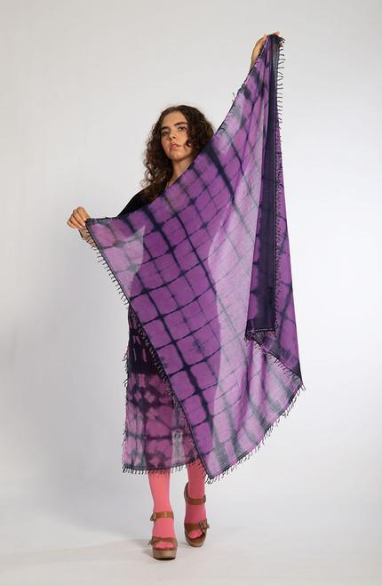 KHADI SQUARES: Indigo Squares on Violet