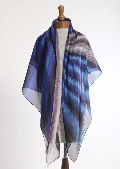 WHISPERING TEXTILES SCARF: Blue Origami Fan of Empathy