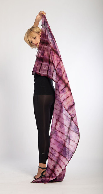 CASHMERE SHAWL: FEATHERWEIGHT - Plaid Raspberry Rust Illusions  SOLD OUT - NO LONGER AVAILABLE