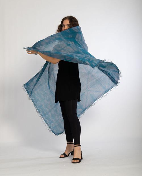 KHADI SQUARES: Titanium Blue-Gray Shawl