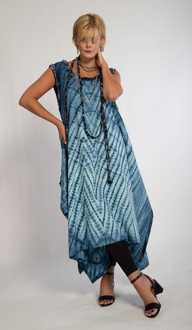 ZIGZAG TRAPEZOID DRESS+LARIAT
