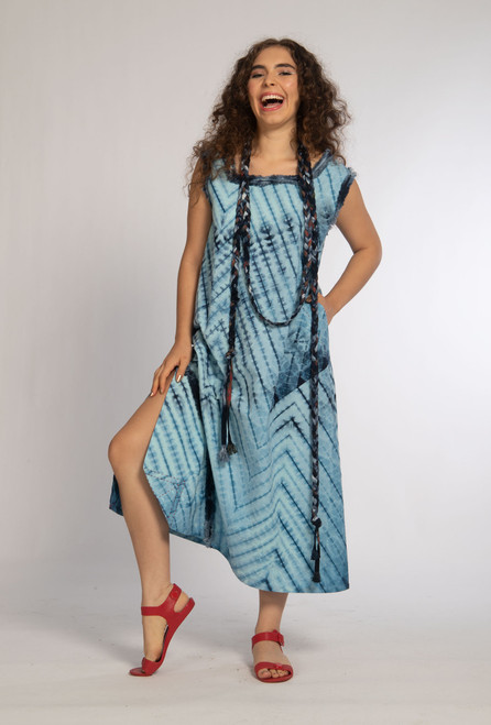 ZIGZAG ALINE DRESS+BRAIDED LARIAT