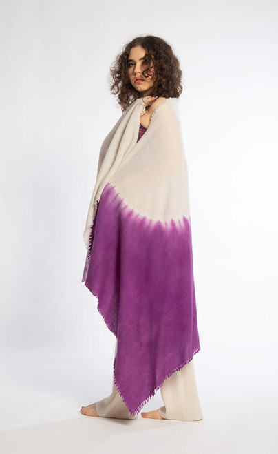 CASHMERE SHAWL: Kyoto Mist - Natural+Purple
