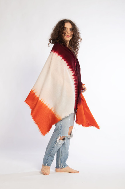 CASHMERE SHAWL: Kyoto Mist - Natural+Orange+Burgundy