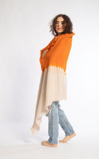 CASHMERE SHAWL: Kyoto Mist - Soft Melon+Orange