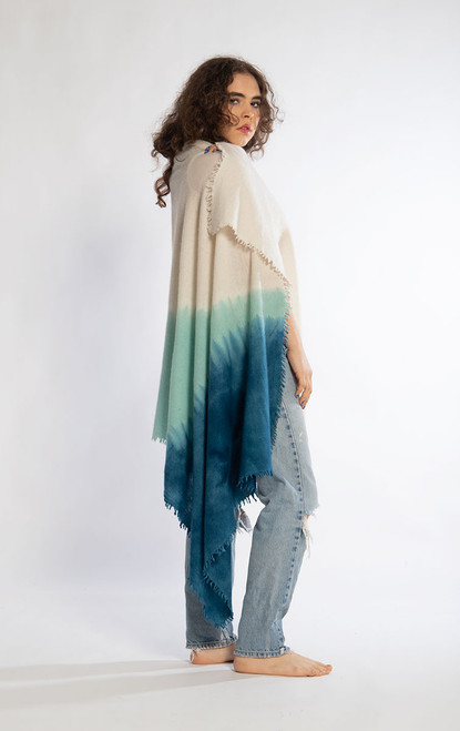 CASHMERE SHAWL: Kyoto Mist - Natural+Soft Aqua+Teal