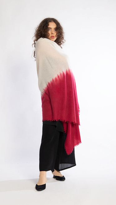 CASHMERE SHAWL: Kyoto Mist - Natural+Cranberry
