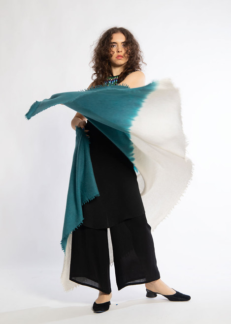 CASHMERE SHAWL: Kyoto Mist - Natural+Bright Teal