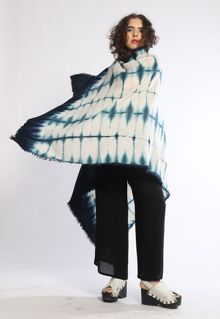 CASHMERE SHAWL: Teal Plaid in Kyoto Mist