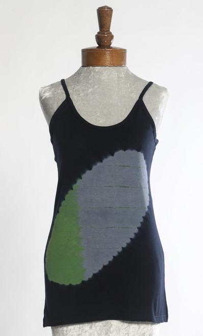 TANK TOP T-SHIRT:  Solar Eclipse   Green+Grey  (Medium)