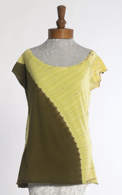 BATEAU T-SHIRT: Curve Diagonal with Lozenge   Lime+Olive  (Large)