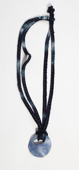 TALISMAN SHIBORI PENDANT: Blue with Glass Beads